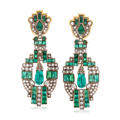 C. 1980 Vintage 13.50 ct. t.w. Emerald and 2.60 ct. t.w. Diamond Clip-On Chandelier Earrings in 14kt and 18kt Yellow Gold