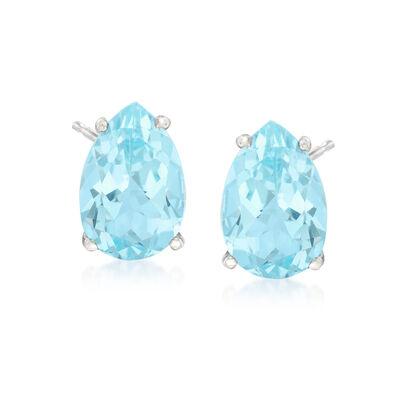 7.25 ct. t.w. Blue Topaz Stud Earrings in Sterling Silver, , default