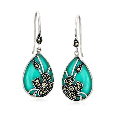 Howlite and Marcasite Pear-Shaped Floral Overlay Drop Earrings in Sterling Silver