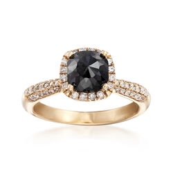 2.50 ct. t.w. Black and White Diamond Halo Ring in 14kt Yellow Gold, , default