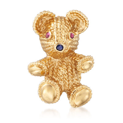 C. 1990 Vintage .10 ct. t.w. Ruby Bear Pin with Sapphire Accent in 14kt Yellow Gold