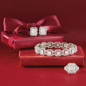 "6.25 ct. t.w. Diamond Mosaic Bracelet in 18kt White Gold. 7"", , default"