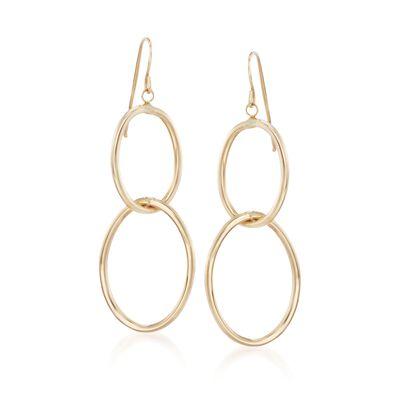 Italian 14kt Yellow Gold Double Oval Drop Hoop Earrings, , default