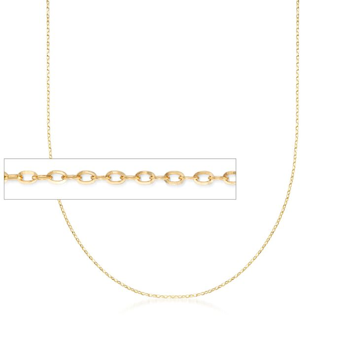 Italian 1mm 18kt Yellow Gold Diamond-Cut Cable Chain Necklace, , default