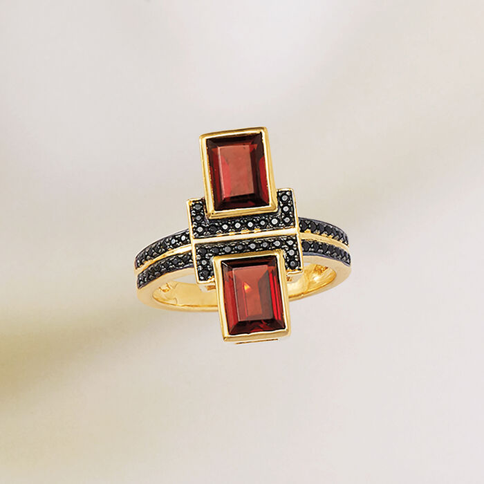 2.40 ct. t.w. Burgundy Garnet and .10 ct. t.w. Black Spinel Ring in 18kt Gold Over Sterling