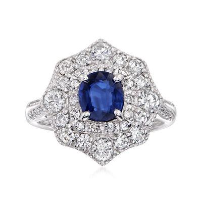 C. 1980 Vintage 1.07 Carat Sapphire and 1.01 ct. t.w. Diamond Ring in Platinum