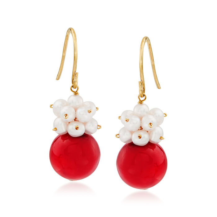 10-10.5mm Red Coral and 3-4mm Cultured Pearl Cluster Drop Earrings in 14kt Yellow Gold, , default