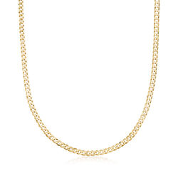 Men's 14kt Yellow Gold Curb-Link Necklace, , default