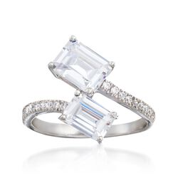 2.70 ct. t.w. CZ Bypass Ring in Sterling Silver, , default
