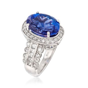 10.80 Carat Tanzanite and 1.30 ct. t.w. Diamond Ring in 14kt White Gold, , default