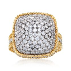 "Roberto Coin ""Barocco"" 3.30 ct. t.w. Diamond Square-Top Dome Ring in 18kt Yellow Gold. Size 7, , default"
