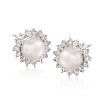 8mm Cultured Pearl and .90 ct. t.w. CZ Earrings in Sterling Silver, , default