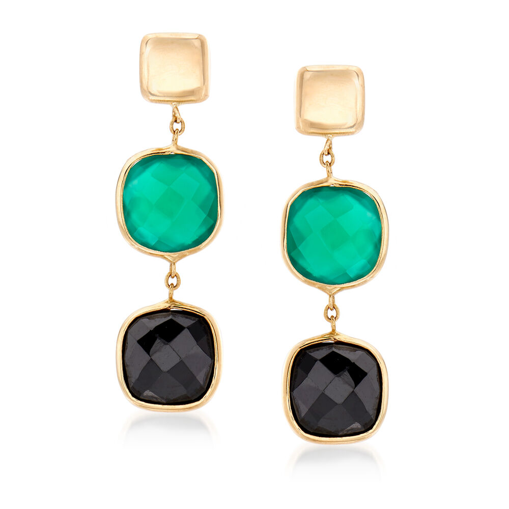 9454b5150b4bd Italian Black Onyx and Green Agate Drop Earrings in 14kt Yellow Gold