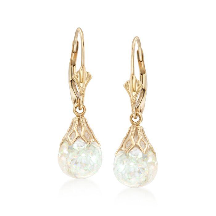 Floating Opal Drop Earrings in 14kt Yellow Gold, , default