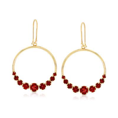 4.10 ct. t.w. Garnet Open-Circle Drop Earrings in 18kt Gold Over Sterling