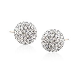 "Swarovski Crystal ""Pop"" Silver Shade Crystal Stud Earrings in Silvertone, , default"
