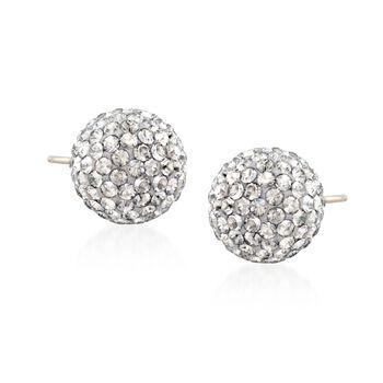 """Swarovski Crystal """"Pop"""" Silver Shade Crystal Stud Earrings in Silvertone, , default"""