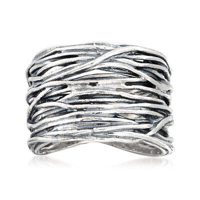 Sterling Silver Stacked-Look Band, , default
