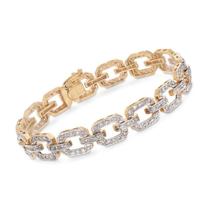 "C. 1980 Vintage 2.50 ct. t.w. Diamond Link Bracelet in 14kt Yellow Gold. 7.5"""