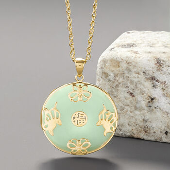 """Jade """"Good Fortune"""" Butterfly Pendant Necklace in 18kt Gold Over Sterling. 18"""""""