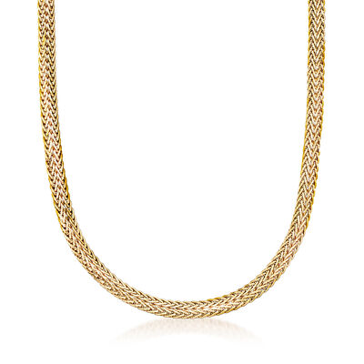Italian 18kt Yellow Gold Wheat Chain Necklace, , default