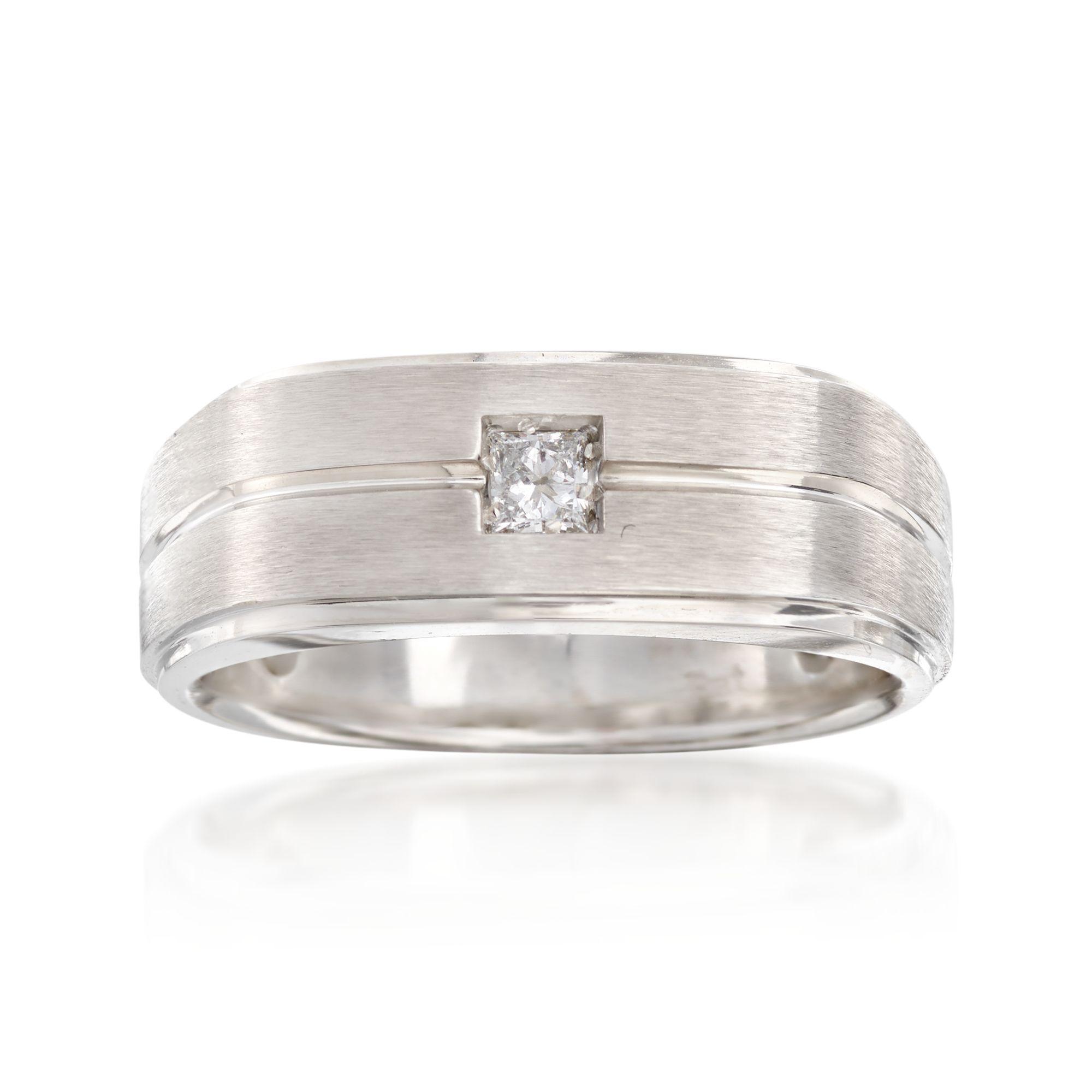 Sterling Silver Mens Diamond Wedding Band Rhodium finish 1//4 inch wide