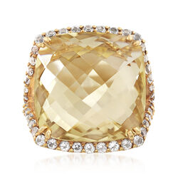 25 Carat Lemon Quartz and 2.00 ct. t.w. White Topaz Ring in 18kt Yellow Gold Over Sterling, , default