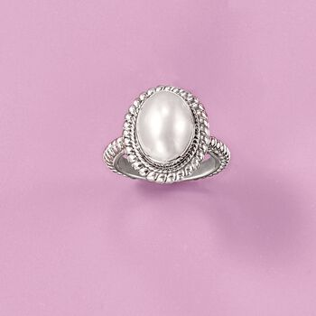 13-18mm Mabe Pearl Balinese Ring in Sterling Silver. Size 5, , default