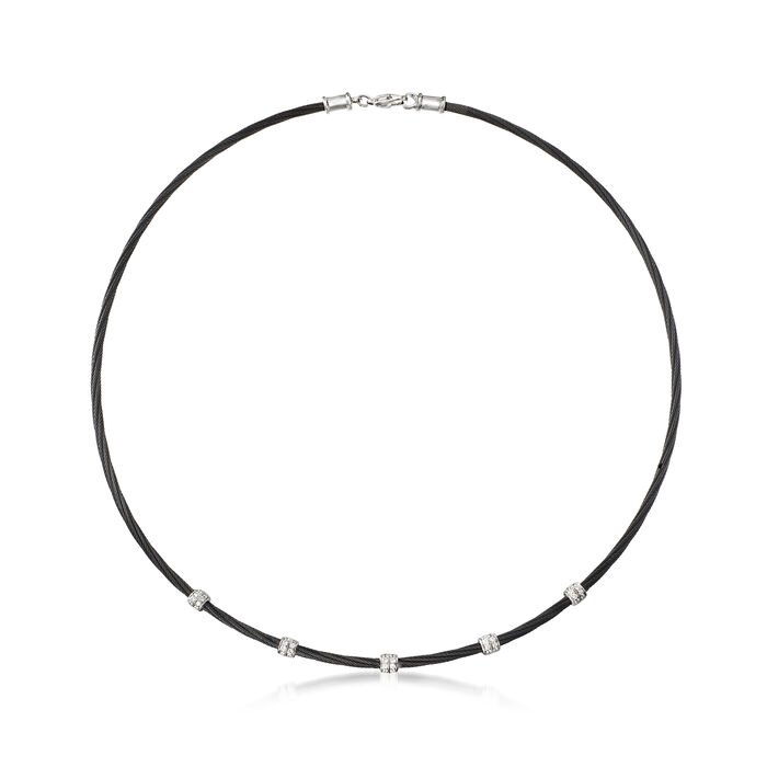 "ALOR ""Noir"" .34 ct. t.w. Diamond Station Black Cable Necklace with 18kt White Gold"