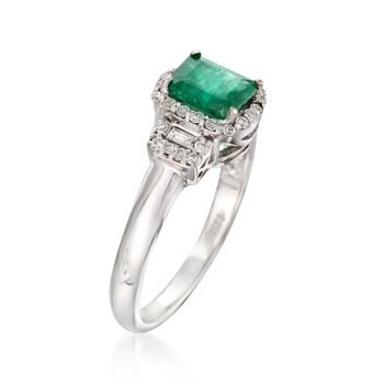 .80 Carat Emerlad and .25 ct. t.w. Diamond Ring in 14kt White Gold, , default