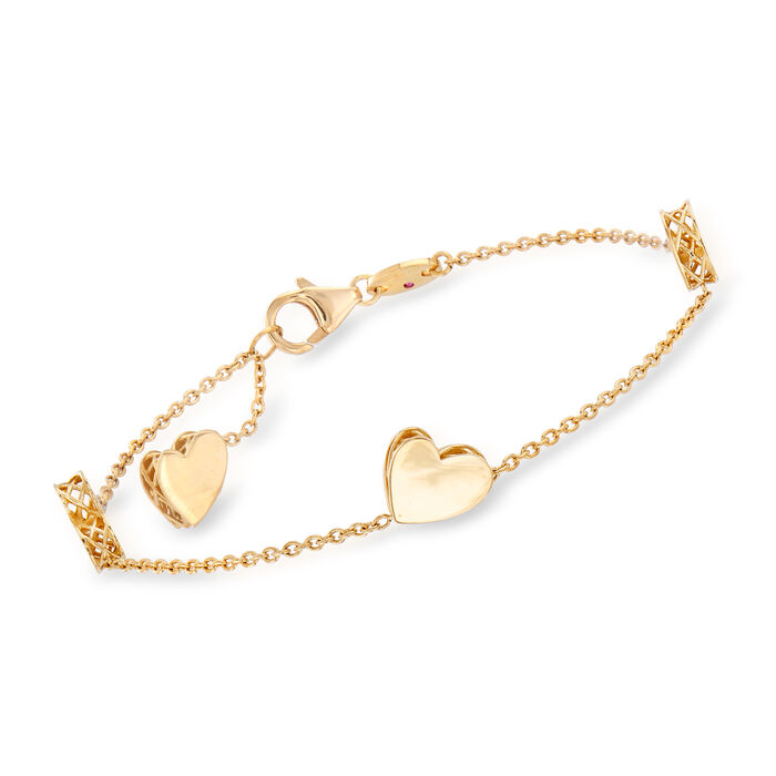 "Roberto Coin ""Amore"" 18kt Yellow Gold Heart Bracelet . 7"""