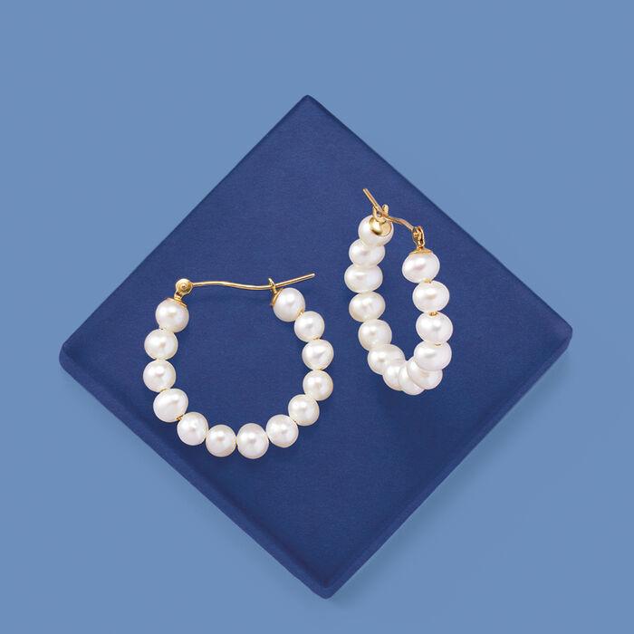 4-5mm Cultured Pearl Hoop Earrings in 14kt Yellow Gold