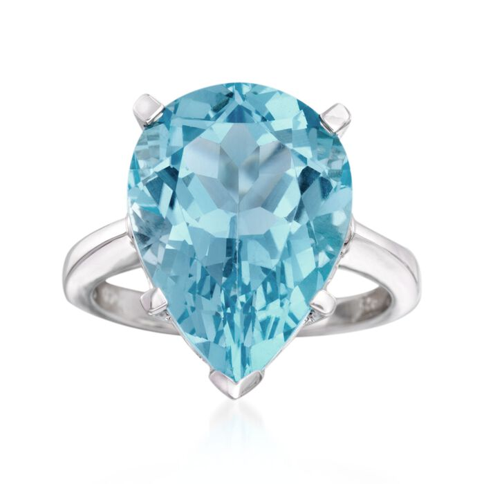 13.00 Carat Blue Topaz Ring in Sterling Silver