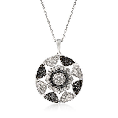 .50 ct. t.w. Black and White Diamond Pendant Necklace in Sterling Silver, , default