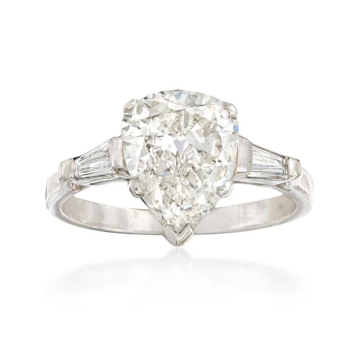 C. 1980 Vintage 2.60 ct. t.w. Diamond Ring in Platinum. Size 7.5, , default