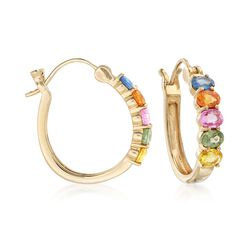 3.50 ct. t.w. Multicolored Sapphire Hoop Earrings in 14kt Yellow Gold. 3/4, , default