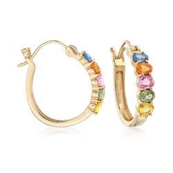 3.50 ct. t.w. Multicolored Sapphire Hoop Earrings in 14kt Yellow Gold , , default