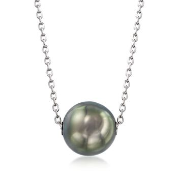 "Mikimoto 10mm A+ Black South Sea Pearl Necklace in 18kt White Gold. 16"", , default"