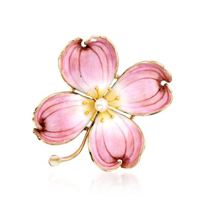 C. 1970 Vintage Pink Enamel and Cultured Pearl Flower Pin in 14kt Yellow Gold, , default