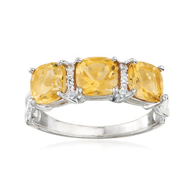 2.09 ct. t.w. Citrine Three-Stone Ring in Sterling Silver with White Zircon Accents