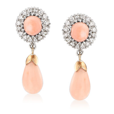 C. 1970 Vintage Coral and .40 ct. t.w. Diamond Drop Earrings in 14kt White Gold, , default
