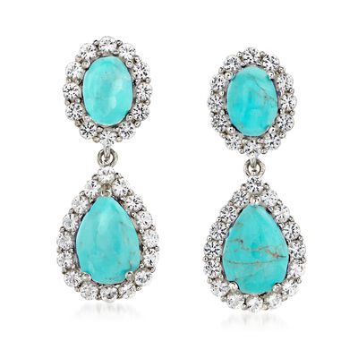 Turquoise and 2.20 ct. t.w. White Topaz Double Drop Earrings in Sterling, , default