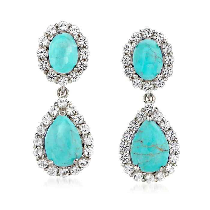 Turquoise and 2.20 ct. t.w. White Topaz Double Drop Earrings in Sterling , , default