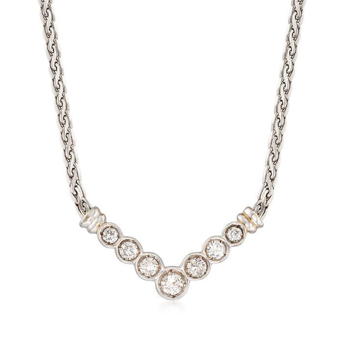 "C. 1990 Vintage 1.00 ct. t.w. Diamond V-Shaped Necklace in 18kt White Gold. 18.75"", , default"