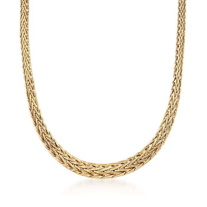 18kt Yellow Gold Graduated Wheat-Link Necklace, , default