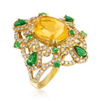C. 1980 Vintage Fire Opal, 1.15 ct. t.w. Tsavorite and .60 ct. t.w. Diamond Ring in 18kt Yellow Gold. Size 6.5