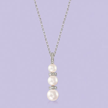 """6-8.5mm Cultured Pearl and .10 ct. t.w. Diamond Necklace in Sterling Silver. 18"""""""