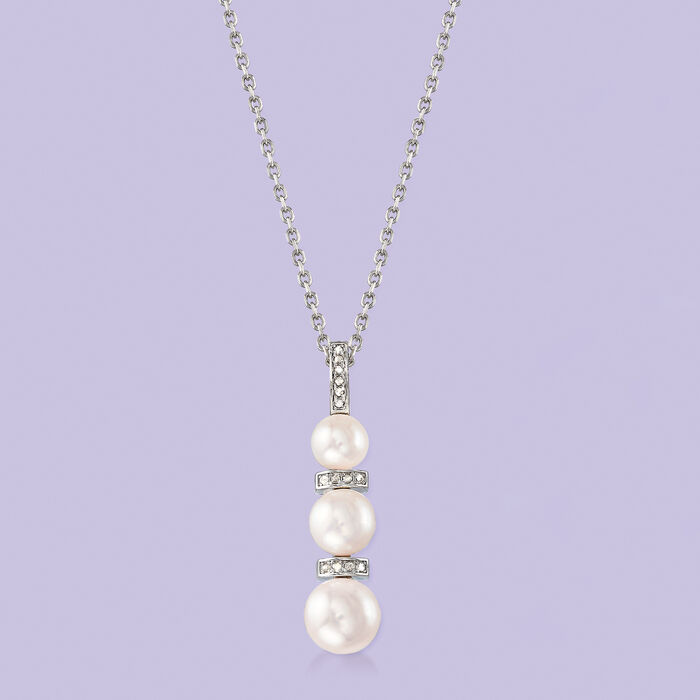 6-8.5mm Cultured Pearl and .10 ct. t.w. Diamond Necklace in Sterling Silver