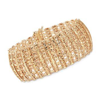 14kt Yellow Gold Over Sterling Silver Diamond-Cut Wide Link Bracelet, , default