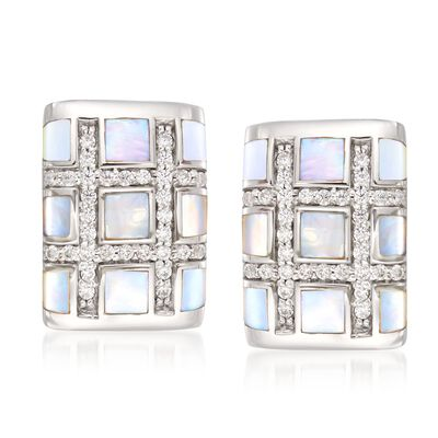 "Belle Etoile ""Regal"" Mother-Of Pearl and .30 ct. t.w. CZ Earrings in Sterling Silver, , default"